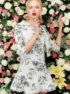 二月花女装2016新品印花裙套装