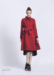 艾玫丽红色修身毛呢大衣