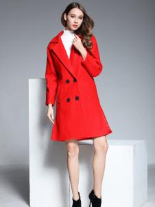 彤欣格红色双排扣鱼尾摆大衣