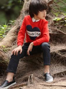帕纳摩亚童装2016秋冬新品红色卫衣