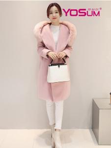 优尚美粉色毛领毛呢外套