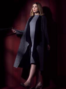 图案女装灰色翻领长款大衣