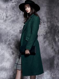 楚阁女装绿色韩版长款大衣