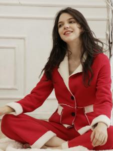 丹蓓姿秋冬红色家居服套装