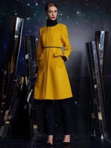 卡索2016秋冬新款黄色大衣