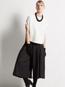 黑色女款五分阔腿裤