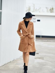 艾米卡其色长款收腰大衣