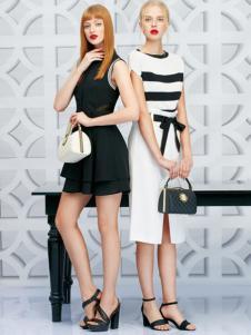 二月花女装2016新品黑白连衣裙