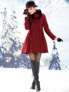 迪如女装红色收腰呢大衣