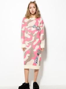 HOLYMOLY长款粉色迷彩针织
