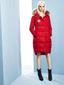 依然秀2016冬装大红色长款羽绒服