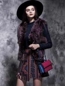 楚阁女装秋冬紫色皮草上衣