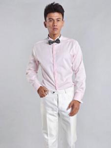 红领粉色衬衫