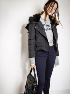 西蔻2016秋冬黑色短款羽绒服