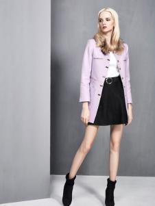 依然秀2016冬装新款紫色外套