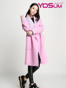 优尚美粉色翻领毛呢大衣