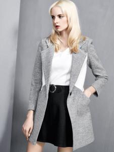 依然秀2016冬装新款时尚拼接大衣