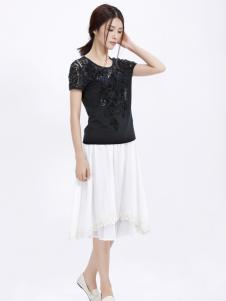 丽比多黑色蕾丝T恤