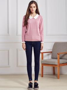 都市衣柜粉色衬衣领毛衣