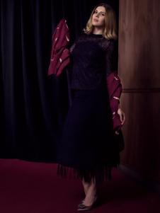 图案女装蓝色蕾丝流苏连衣裙