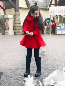 JOJO童装2016秋冬新品毛领红色大衣