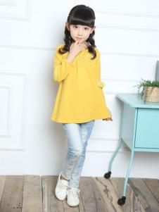 一休童装2016新品女童黄色A版上衣
