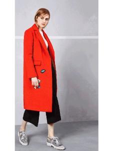 钡禾秋季时尚红色大衣
