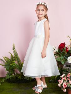 poipoilu女童白色连衣裙