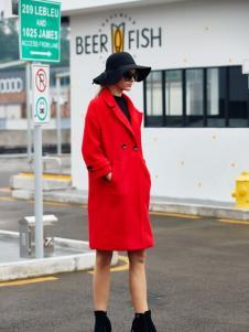 艾米秋冬时尚红色长款外套
