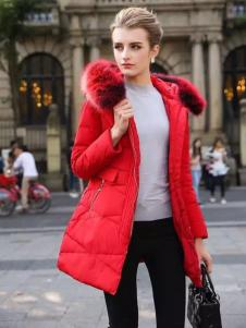衣佰芬女装2016红色羽绒服