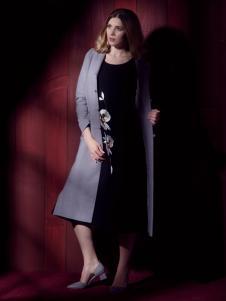 图案女装长款灰色大衣