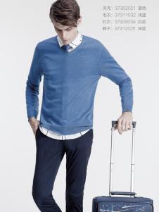 它钴男装蓝色针织毛衣