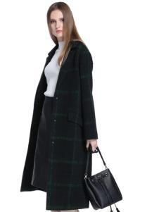 衣佰芬女装2016长款格子大衣