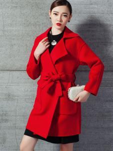 衣佰芬2016新款红色大衣