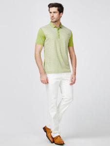 傑思梵男装2016新品草绿色条纹T恤