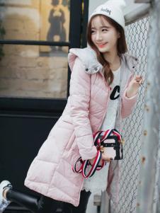 莉雅莉萨冬季粉色羽绒服
