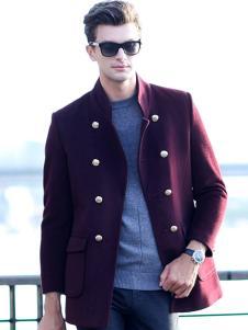 凯帝龙驰红色毛呢双排扣外套