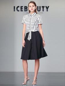 冰晶怡人女装2016新品横条纹上衣