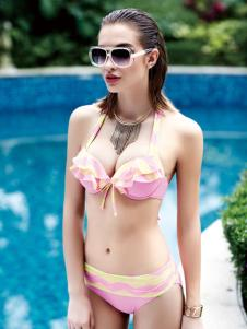 欧诗雨粉色性感泳衣