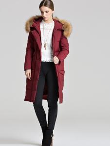 衣佰芬秋冬新款酒红色羽绒服
