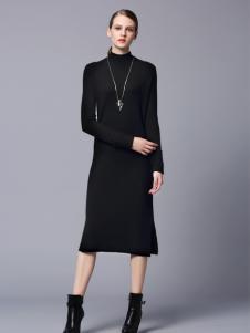 画而诗黑色修身连衣裙