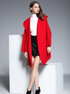彤欣格红色宽松毛呢大衣