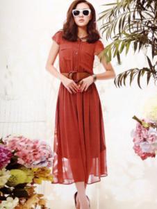 白筱雅女装橙色收腰连衣裙