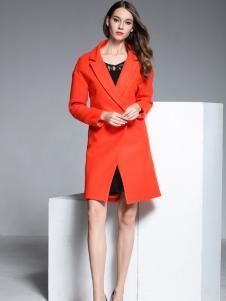 彤欣格红色韩版修身毛呢大衣