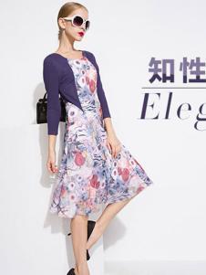 音爱美女装2016秋冬新品印花连衣裙