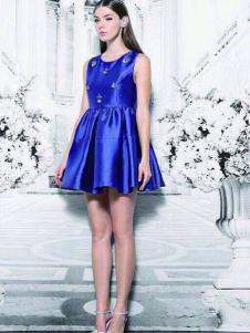 菲阁女装宝蓝色无袖连衣裙