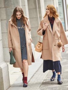 必芙丽卡其色欧版时尚大衣