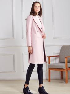 都市衣柜粉色H版修身大衣