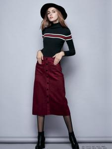 楚阁女装红色A字排扣半裙