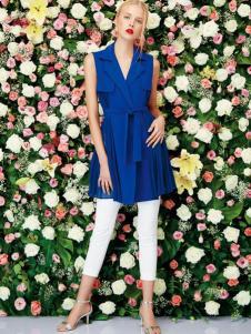 二月花女装2016新品宝蓝色V领上衣